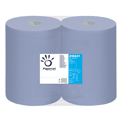 Picture of Papernet Industrial towel roll Virgin, two-ply, 360 m, 1000 cuts, blue, 2 pcs.