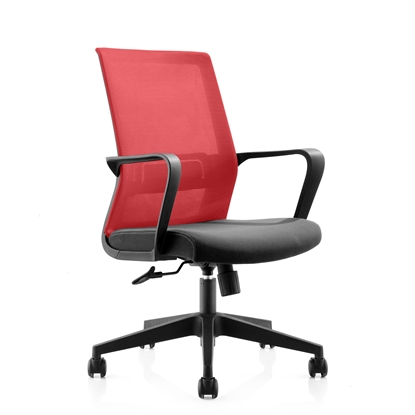 Picture of RFG Smart W Office Chair, mesh and upholstery, black seat , red back