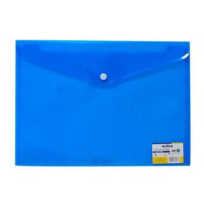 Picture of Office 1 Superstore PP File Bag with button, A4, transparent, blue