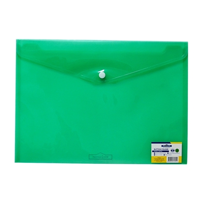 Picture of Office 1 Superstore PP File Bag with button, A4, transparent, green