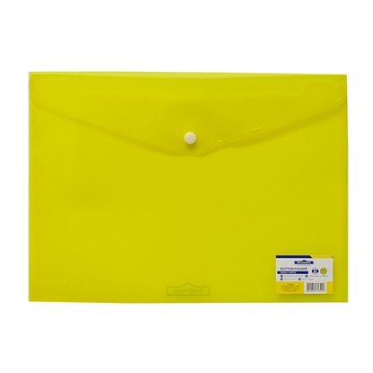 Picture of Office 1 Superstore PP File Bag with button, A4, transparent, yellow