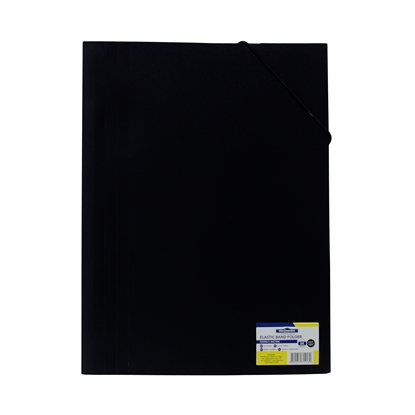 Picture of Office 1 Superstore PP File Folder with rubber band, black