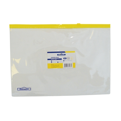 Picture of Office 1 Superstore Zipper Bag with yellow zip and business card holder, A4, transparent
