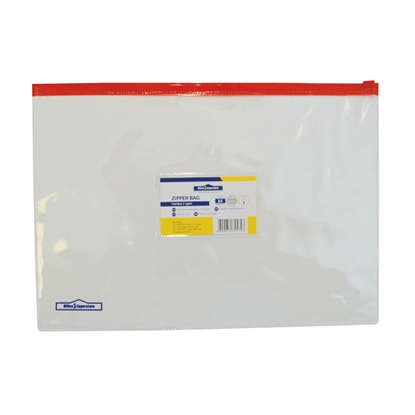 Picture of Office 1 Superstore Zipper Bag with red zip and business card holder, A4, transparent