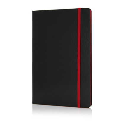 Picture of XD Deluxe Notepad, A5, 80 sheets black, offset paper, red elastic strap