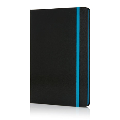 Picture of XD Deluxe Notepad, A5, 80 sheets black, offset paper, blue elastic strap