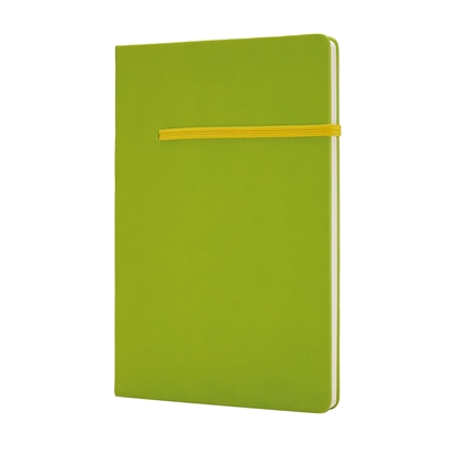 Picture of XD Notepad, A5, 80 sheets green, yellow elastic strap