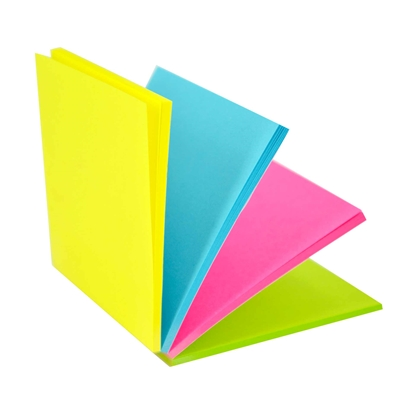 Picture of Stickn Magic Sticky Notes, 76 x 76 mm, 4 colours, 100 sheets