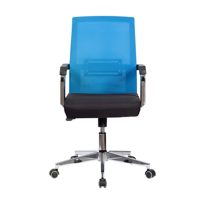 Picture of RFG Roma W Office Chair, mesh and upholstery, black seat , light blue back