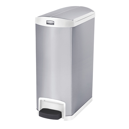 Снимка на Rubbermaid Кош Slim Jim End, метален, 50 L, бял