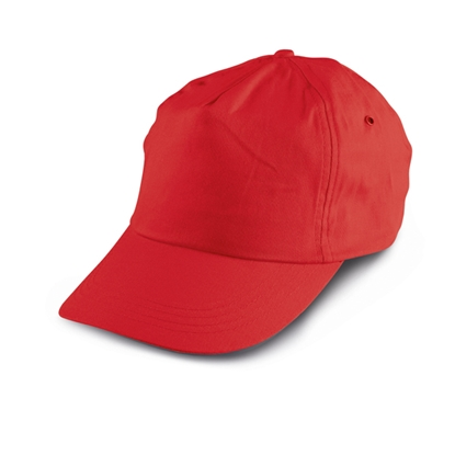 Picture of 5-panel  Baseball cap polyester, red, 10 pcs.