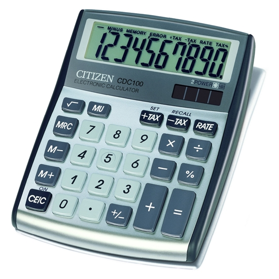 Picture of Citizen Desk calculator CDC-100WB, 10-digit, grey