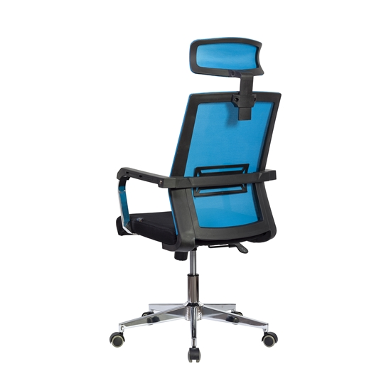 Picture of RFG Roma HB Director s Chair, mesh and upholstery, black seat , light blue back