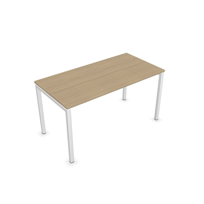 Picture of Narbutas Short legged table Amber, 700x700x450 mm, Melamine whitened oak, white metal, leg type U