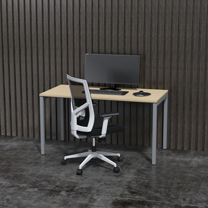 Picture of Narbutas Ergonomic electric desk 1400x700x740 mm Melamine, white metal legs, amber-coloured board