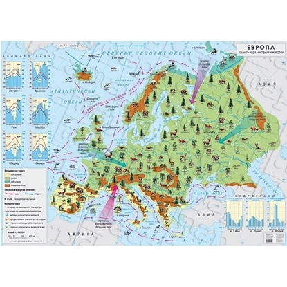 Picture of Wall map of Europe - climate, water, plants and animals, 140 x 100 cm