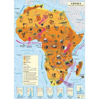 Picture of Wall map of Africa, climate, 100 x 140 cm, laminated