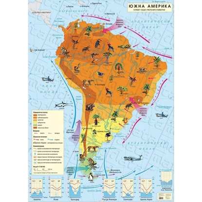 Picture of Wall map of South America, climate, 100 x 140 cm, laminated