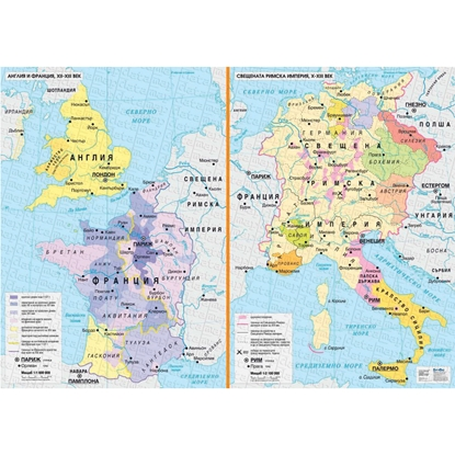 Picture of Map of England and France XII-XIII century, the Holy Roman Empire
