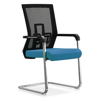 Picture of RFG Lucca M Visitor Chair, mesh and upholstery, blue seat, black back