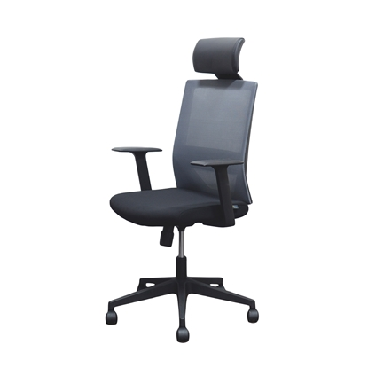 Picture of RFG Berry HB Director s Chair, mesh and upholstery, black seat, grey back