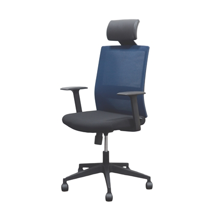 Picture of RFG Berry HB Director s Chair, mesh and upholstery, black seat , dark blue back