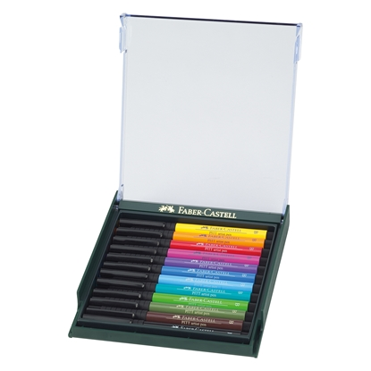 Picture of Faber-Castell Fineliner Pitt Artist Ballpen, Bright, 12 colors