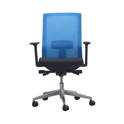 Picture of RFG Alcanto W Office chair, mesh and upholstery, black seat, light blue back