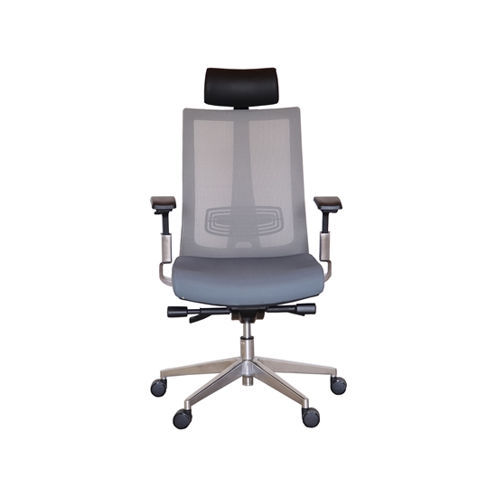 Picture of RFG Managers chair Ancona HB, damask and mesh, grey seat, grey backrest