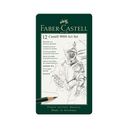 Picture of Faber-Castell Pencil Castell 9000, black-graphited, Set for artists, different hardness, 12 pcs.