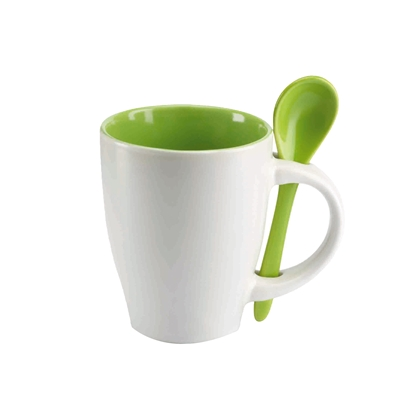 Picture of Cup Dual, white, with green spoon, 250 ml