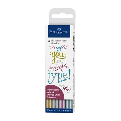 Picture of Faber-Castell Marker Pitt Artist Creative Studio, metallic, 4 colours