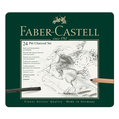 Picture of Faber-Castell Set charcoals Pitt Charcoal, 24 pcs. in a metal box