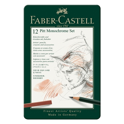 Picture of Faber-Castell Set Pencils Pitt Monochrome, 12 pcs. in a metal box