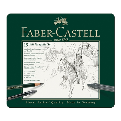 Picture of Faber-Castell Set Pencils Pitt Graphite, 19 pcs. in a metal box