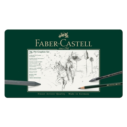 Picture of Faber-Castell Set Pencils Pitt Graphite, 26 pcs. in a metal box