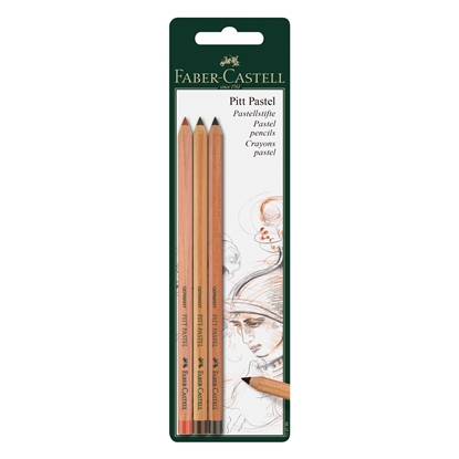 Picture of Faber-Castell Pastel pencil Pitt l, 3 colors(sanguine, dark sepia, walnut brown), in blister