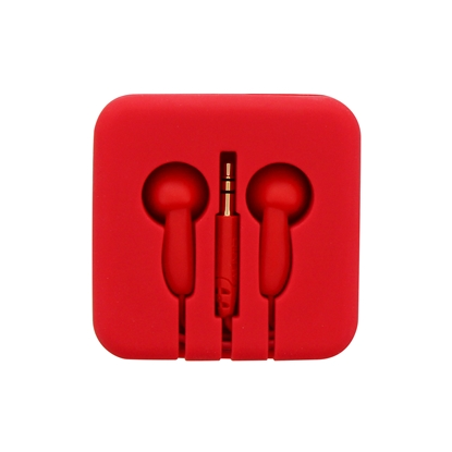 Picture of TnB Pocket Headphones, in a silicone box, red