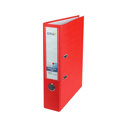 Picture of Office 1 Superstore Lever Arch File, 8 cm, PVC without metal strip, red