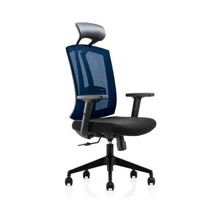Picture of RFG Brixen HB Director s Chair, mesh and upholstery, black seat, blue back