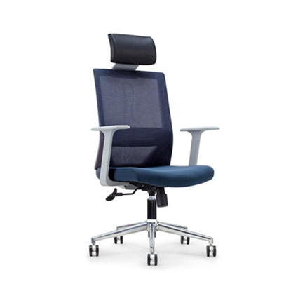 Picture of RFG Fedo Grey HB Director s Chair, mesh and upholstery, dark blue seat, dark blue back
