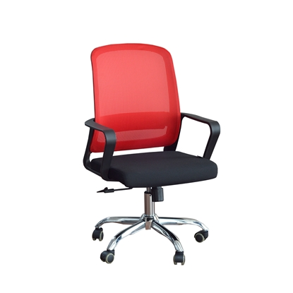 Picture of RFG Parma Black W Office Chair, mesh and upholstery, black seat , red back