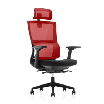Picture of RFG Grove Ergonomic Chair, mesh and upholstery, black seat, red back