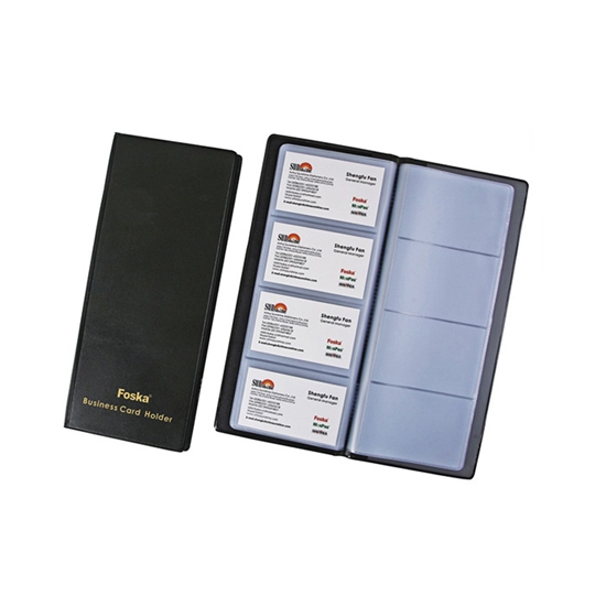 Picture of Foska Business card album, on 4 rows, for 128 business cards, black
