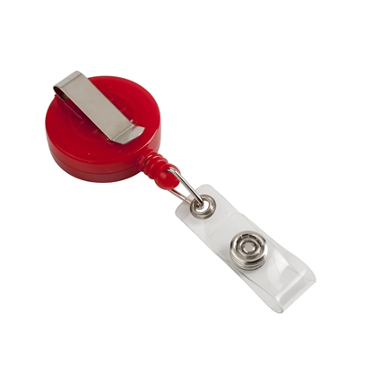 Picture of Foska Rеtractor, roller badge holder, round, red, 100 pcs