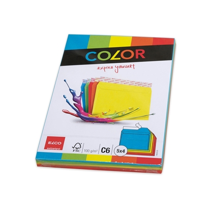 Picture of Elco envelope, C6, 114 х 162 mm, 100 g, right cover with self-adhesive tape, color, assorted 5 colors, 20 pcs