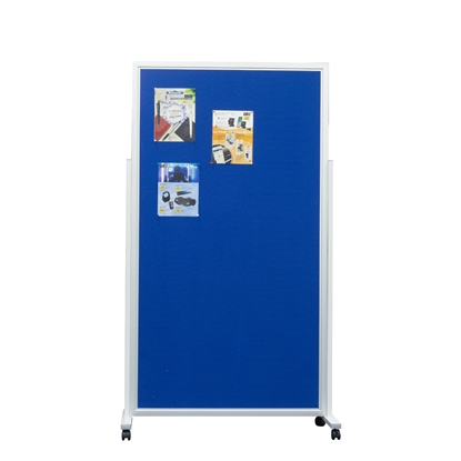 Picture of Top Office Felt board, 100 x 180 cm, with one wing, mobile, on wheels, blue