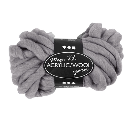 Picture of Yarn, acrylic / wool, 15 m, 300 g, grey