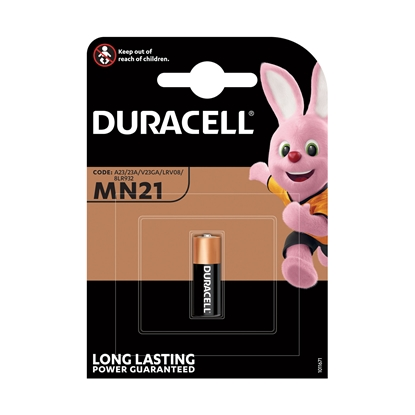 Picture of Duracell alkaline battery, A23, MN21, LRV08, 12 V