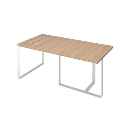 Picture of Narbutas Desk Plana, 1800x900x750 mm, amber oak meamine, white metal, white metal on the wire box
